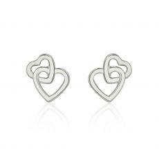 עגילי זהב צמודים -  לבבות משולבים