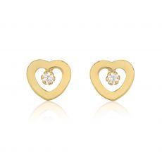עגילי זהב צמודים -  לב מלוכד