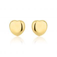 עגילי זהב צמודים -  לב קלאסי חלק