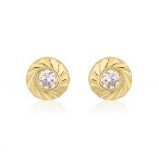 עגילי זהב צמודים -  עיגול קטיה-קטן