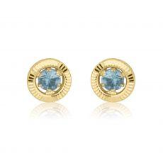 עגילי זהב צמודים -  עיגול טופזית-קטן