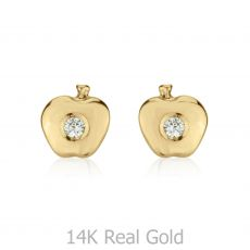 עגילי זהב צמודים -  תפוח מנצנץ