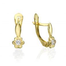 עגילי זהב תלויים - פרח עם גבעול