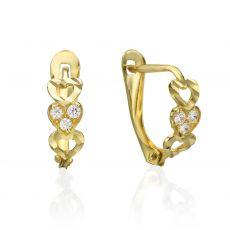 עגילי זהב תלויים - לבבות מאושרים