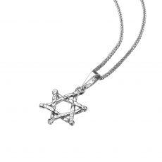 תליון זהב לבן - מגן דוד ציון