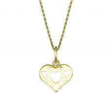 תליון ושרשרת מזהב צהוב - לב מלא באהבה
