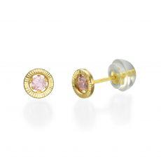 עגילי זהב צמודים -  עיגול שייני-קטן