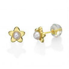 עגילי זהב צמודים -  פנינה כוכבה
