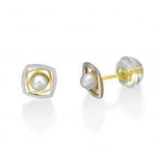 עגילי זהב צמודים -  פנינה לוסי