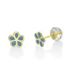 עגילי זהב צמודים -  פרח מרגנית