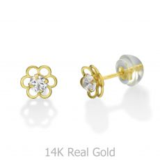 עגילי זהב צמודים -  פרח פלורי גדול