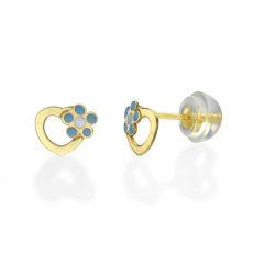 עגילי זהב צמודים -  לב ופרח מרגנית