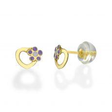 עגילי זהב צמודים -  לב ופרח סיגלית