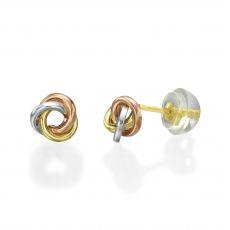 עגילי זהב צמודים -  עיגול קארמה