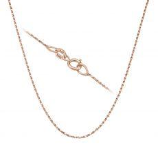 """שרשרת מסובבת זהב ורוד 0.6 מ""""מ עובי, 38 ס""""מ אורך"""
