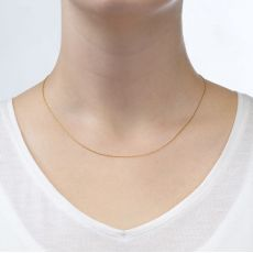 """שרשרת מסובבת זהב ורוד 0.6 מ""""מ עובי, 42 ס""""מ אורך"""