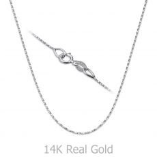 """שרשרת מסובבת זהב לבן 0.6 מ""""מ עובי, 38 ס""""מ אורך"""