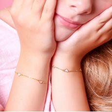 צמיד זהב לילדה - לבבות אם הפנינה - ורוד