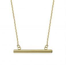 תליון ושרשרת מזהב צהוב 14 קראט - צינור זהב
