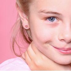 עגילי זהב צמודים -  פרפר אופטימי