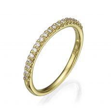 טבעת יהלום מזהב צהוב 14 קראט - נסיכה