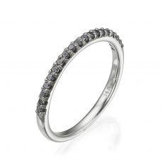 טבעת יהלום שחור מזהב לבן 14 קראט - נסיכת הקרח