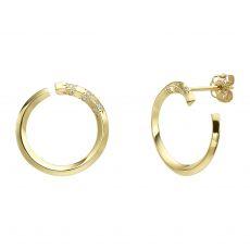 עגילי יהלום צמודים מזהב צהוב 14 קראט - סאנרייז - גדול