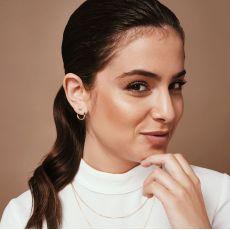 עגילי יהלום צמודים מזהב לבן 14 קראט - סאנרייז - גדול