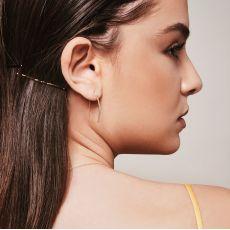 עגילים תלויים ארוכים מזהב לבן 14 קראט - צינורות זהב