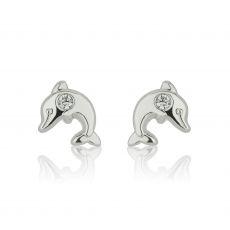עגילי זהב לבן צמודים -  דולפין מנצנץ