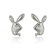 עגילים צמודים מזהב לבן 14 קראט - ארנב מחייך