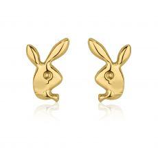 עגילים צמודים מזהב צהוב 14 קראט - ארנב מחייך