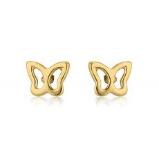 עגילי זהב צמודים -  פרפר עדין