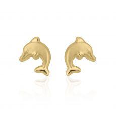 עגילים צמודים מזהב צהוב 14 קראט - דולפין חייכן - מט