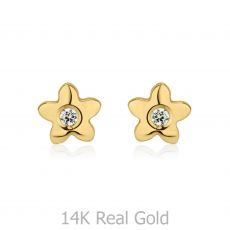 עגילים צמודים מזהב צהוב 14 קראט - פרח פורח