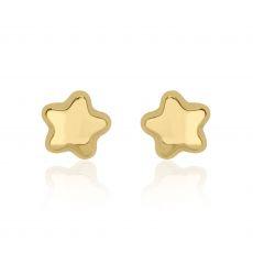 עגילים צמודים מזהב צהוב 14 קראט - כוכב נילי - גדול
