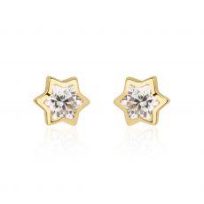 עגילים צמודים מזהב צהוב 14 קראט - כוכב מנצנץ