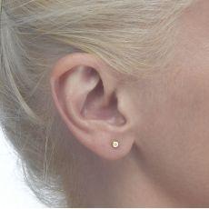 עגילי זהב צמודים -  עיגול יפעה קטן