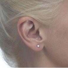 עגילי זהב לבן צמודים -  עיגול יפעה קטן