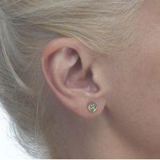 עגילי זהב צמודים -  עיגול טופזית