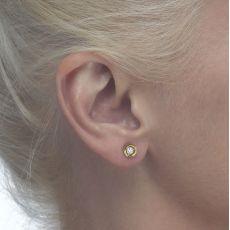 עגילי זהב צמודים -  עיגול קריסטל