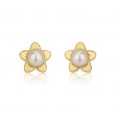 עגילים צמודים מזהב צהוב 14 קראט - פנינה כוכבה