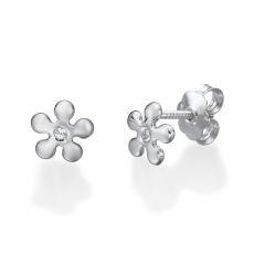 עגילים צמודים מזהב לבן 14 קראט - פרח מישל