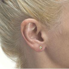 עגילי זהב צמודים -  פרח יסמין גדול