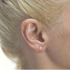 עגילי זהב צמודים -  פרח רוזטה