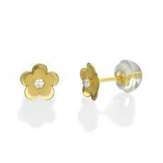עגילים צמודים מזהב צהוב 14 קראט - פרח דייזי