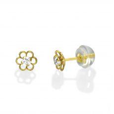 עגילים צמודים מזהב צהוב 14 קראט - פרח פלורי קטן