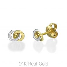 עגילי זהב צמודים - עיגולים משתלבים