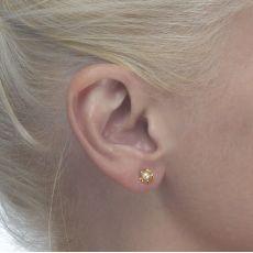 עגילי זהב צמודים -  פנינה ופרח