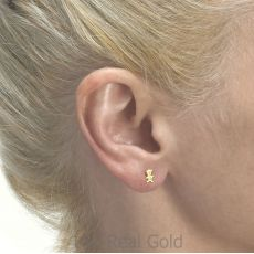 עגילים צמודים מזהב צהוב 14 קראט - דובי חמודי